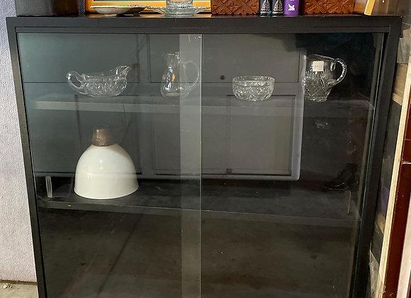 3-Tier Black Retro Bookshelf with 2 Sliding Glass Doors
