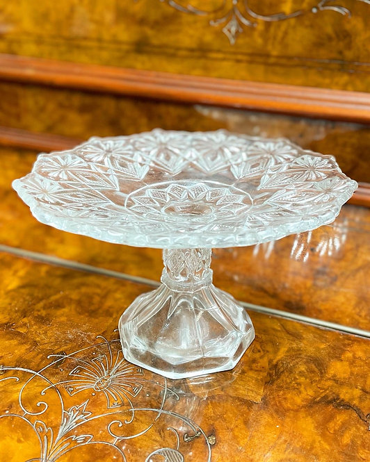 Stunning Large Size Vintage Hand-Cut Crystal Cake Stand from C.1970s