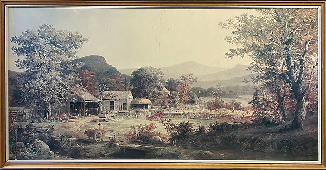 Impressive Large Framed Print of Countryside in Good Condition