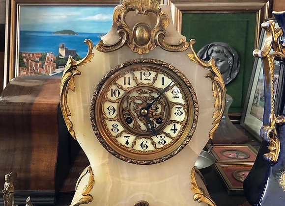 Gorgeous Antique French Onyx Mantle Clock with Gold Coloured Gilding