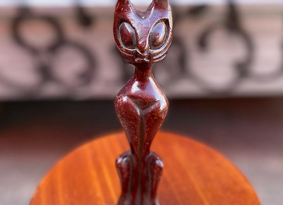 Pretty Small Vintage Statue of a Wooden Cat
