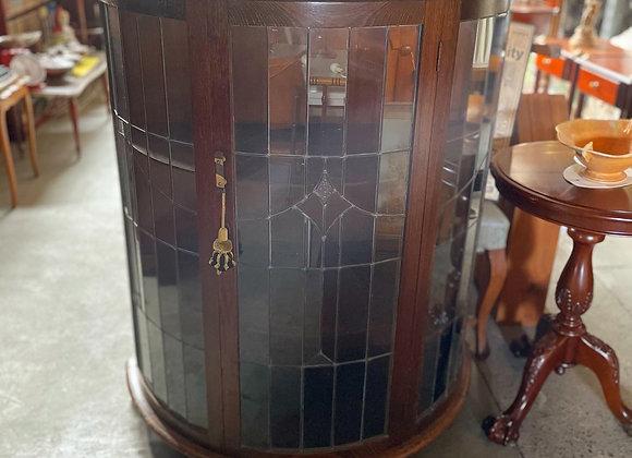 Antique English Oak Art Deco Half Round Display Cabinet with Leadlight Glass Doo