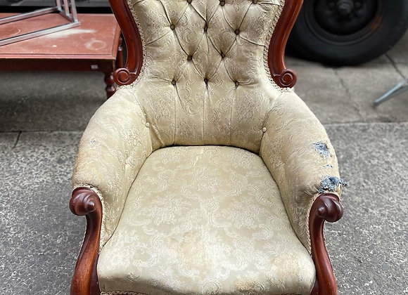 Impressive Victorian Cedar Grandfather Chair with Upholstery