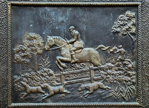 Incredible Antique Metal Relief of a Horseback Riding Scene