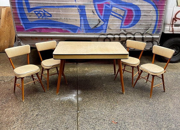 A Set of Gorgeous Retro Laminated Top Wooden Base Table & 4 Chairs