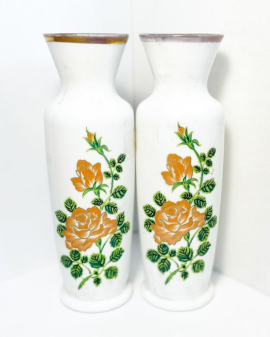 Gorgeous Pair of Vintage White Glass Decorative Vases with Rose Motifs
