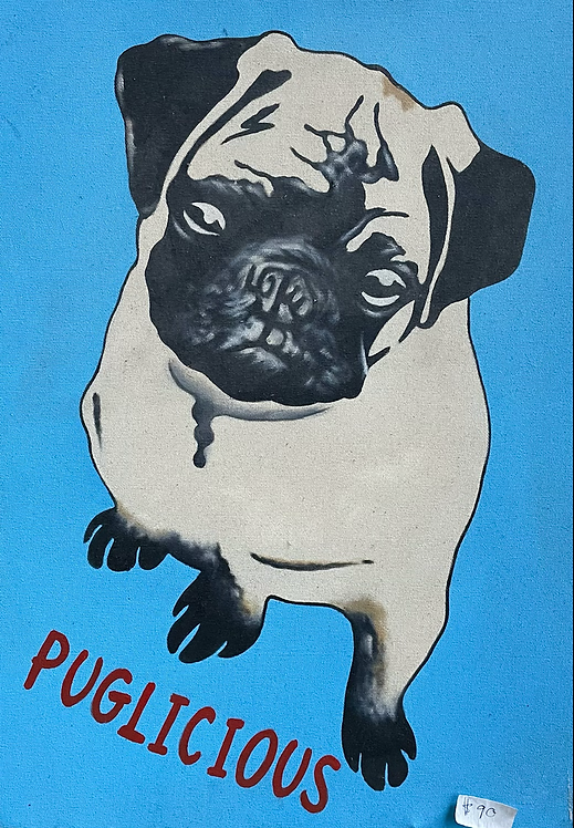 Funky Contemporary Artwork on Canvas 'Puglicious' by Unknown Artist