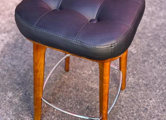 Modern Scandinavian Style Wooden Frame Leather Top Bar Stool