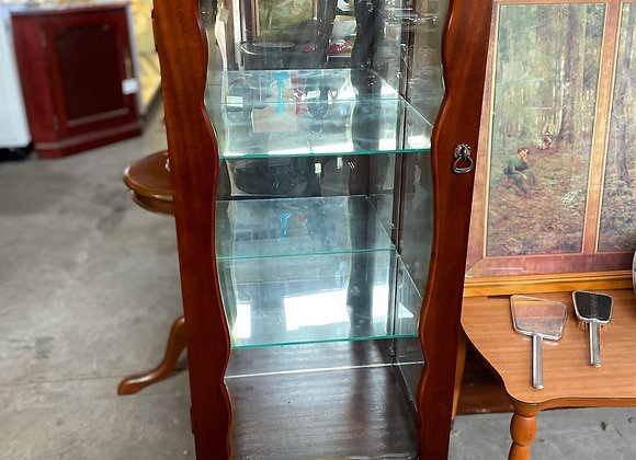 Antique Queen Anne Mirror Back Mahogany Display Cabinet
