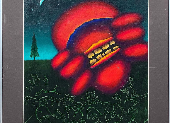 Vivid Surrealist Painting signed by Ralph' 93