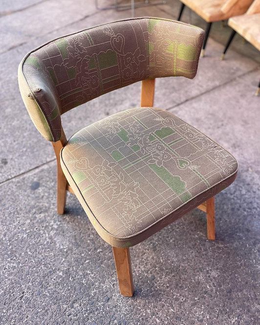 Beautiful Light Stain Chair with Grey & Green Upholstery