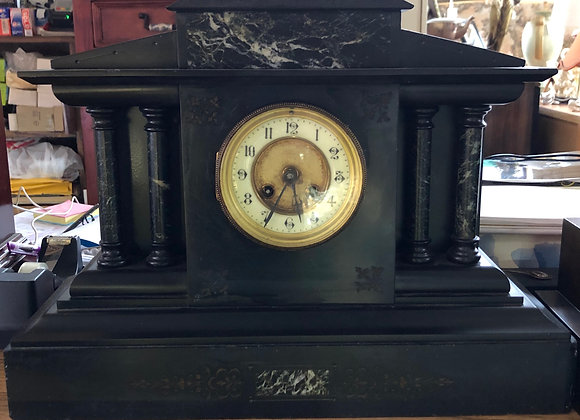 English Black Marble Mantle Clock