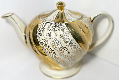 Vintage 'Sadler' Gild and Cream Swirl Teapot from C.1950's (England)