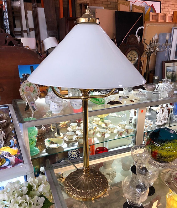 Antique White Glass Shade Table Lamp in a Good Condition