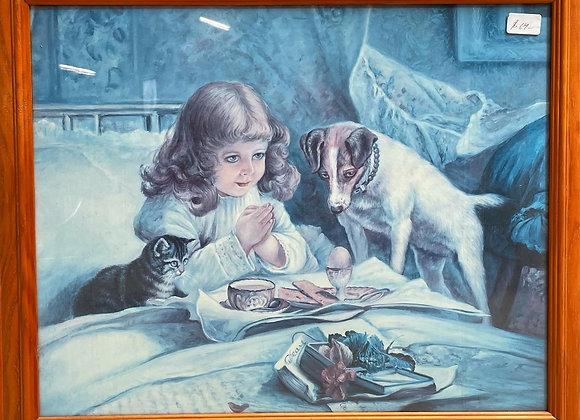 Lovely Framed Print of Praying Girl and a Dog