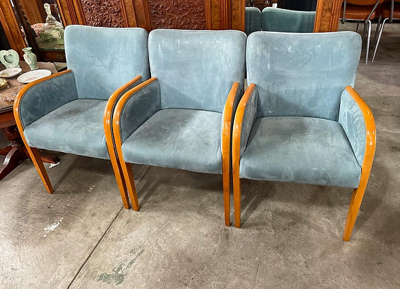 A Set of 3 Modern Scandinavian Style Armchairs with Light Blue Upholstery