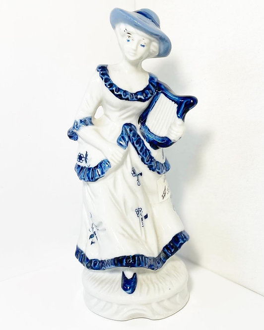 Victorian Blue & White Porcelain Lady Figurine with a Harp from C.1960s