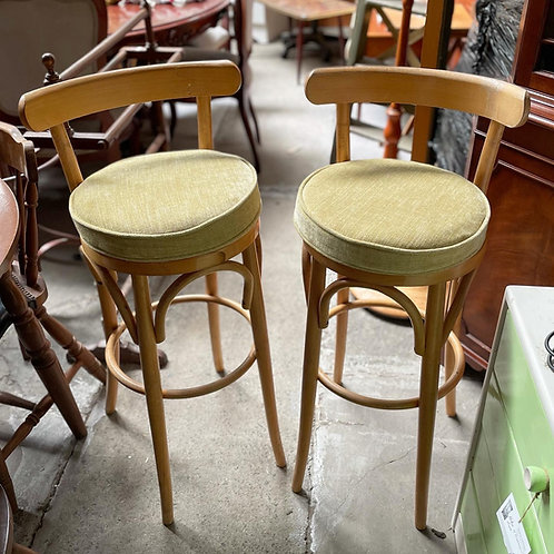 A Pair of 2 Vintage Bentwood Bar Stools