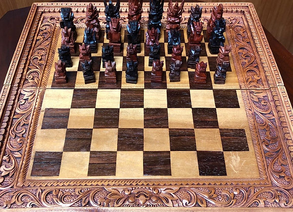 Vintage Hand Carved Indonesian Chess & Backgammon Game Set