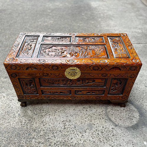 Stunning Vintage Hand-Carved Wooden Box with Oriental Ornaments