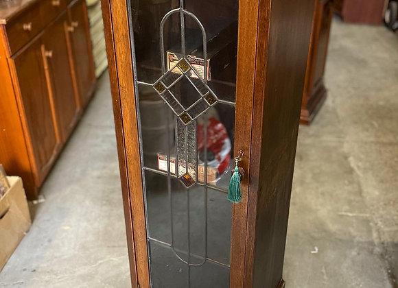 Antique C.1930's Tudor Period Leadlight Single Door Music Cabinet