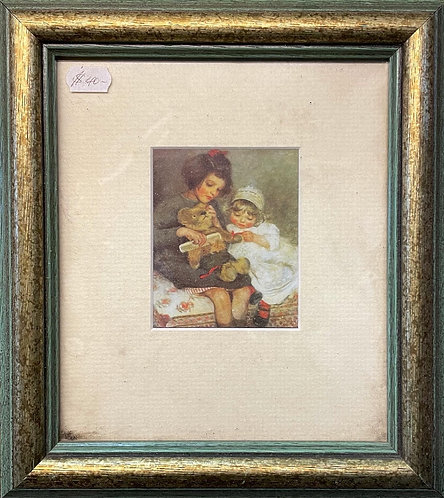 Small Vintage Australian Print of Two Girls in Good Condition