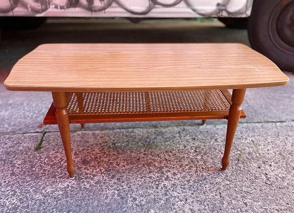 Stunning Mid-Century Retro Coffee Table with a Low Magazine Shelf in Cane