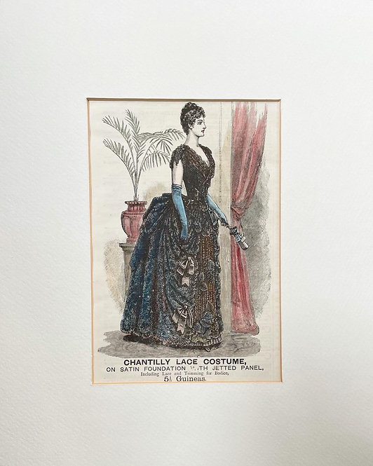 Elegant Original Fashion Plate of the 1886 in Very Good Condition