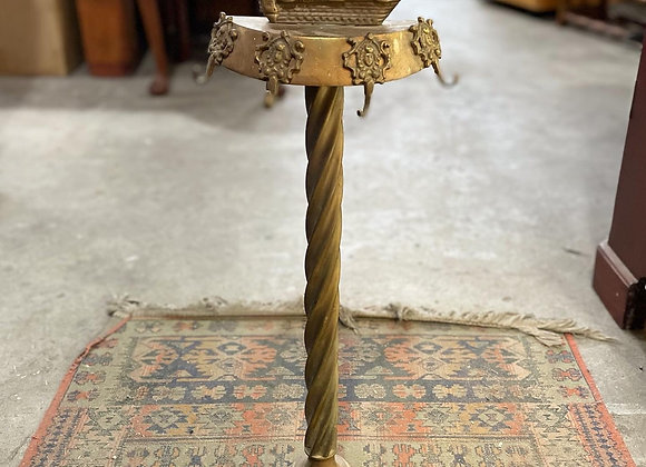 Antique Brass Ship Motif Fireplace Tool Stand in Good Condition