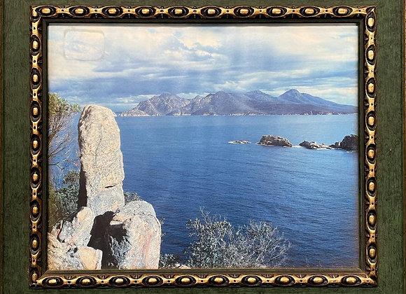 Lovely Little Vintage Framed Print of Isle of Rum (Scotland)