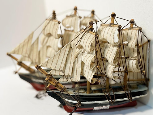 A Pair of 2 Vintage Hand-Crafted Decorative Ship Models