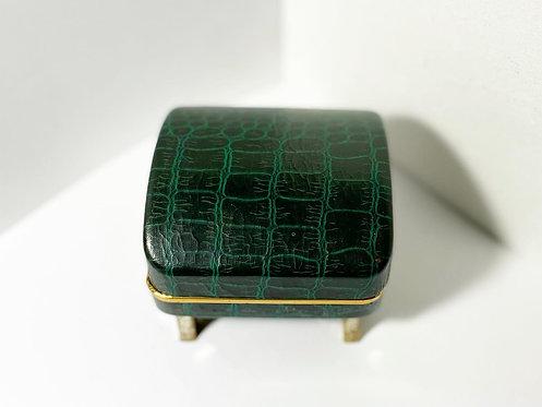Elegant Vintage Dark Green Leather Jewellery Box in Original Condition