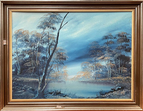 Stunning Framed Vintage Impressionist Painting on Canvas by Unknown Artist