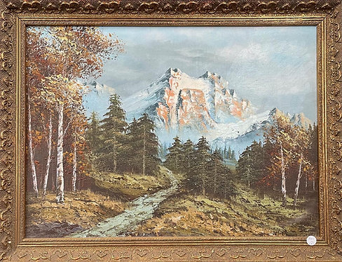 Spectacular Mountainous Artwork with Elegant Frame by Unknown Artist