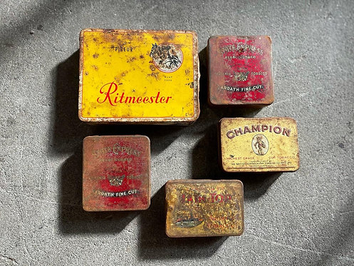 Vintage Various Size Tin Tobacco Boxes from C.1950's