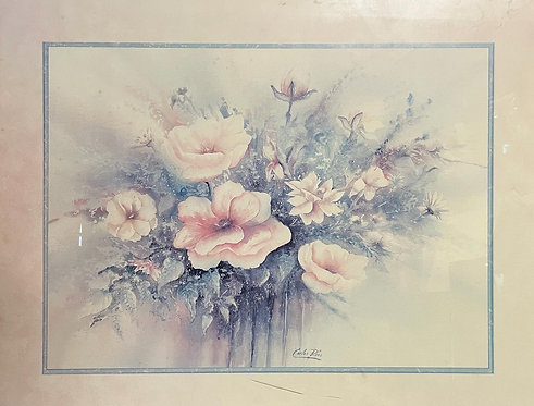 Light Tones Floral Watercolour Artwork Signed by Carlos Rios