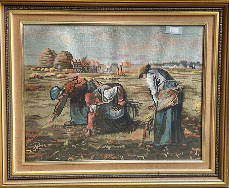 """Stunning Reproduction Aubusson Artwork of Jean-François Millet's """"The Gleaners"""""""