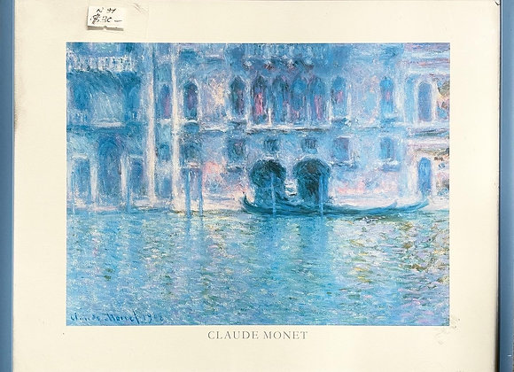 Vintage Print of Claude Monet's Oil Painting Palazzo da Mula in Venice (1908)