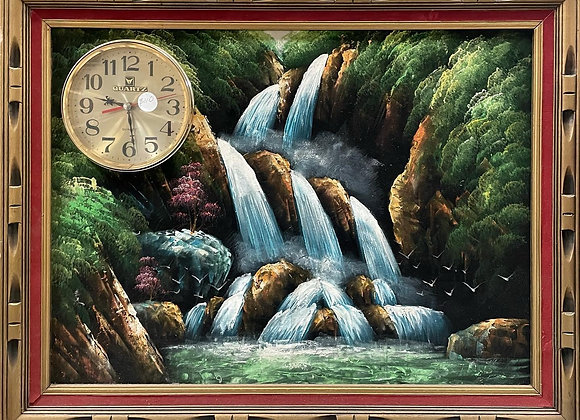 Unique Vintage Artwork of Waterfalls with Battery Operated Quartz Clock