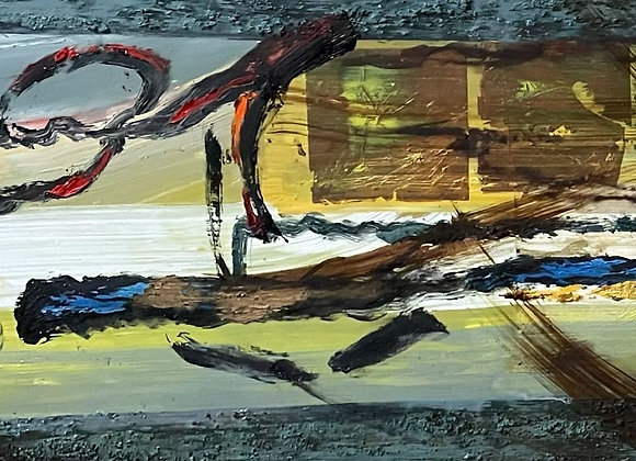 Original Horizontal Abstract Oil on Canvas signed by ELP