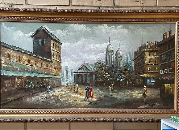 Stunning Large Oil on Canvas Painting by Unknown Artist with Gilded Frame