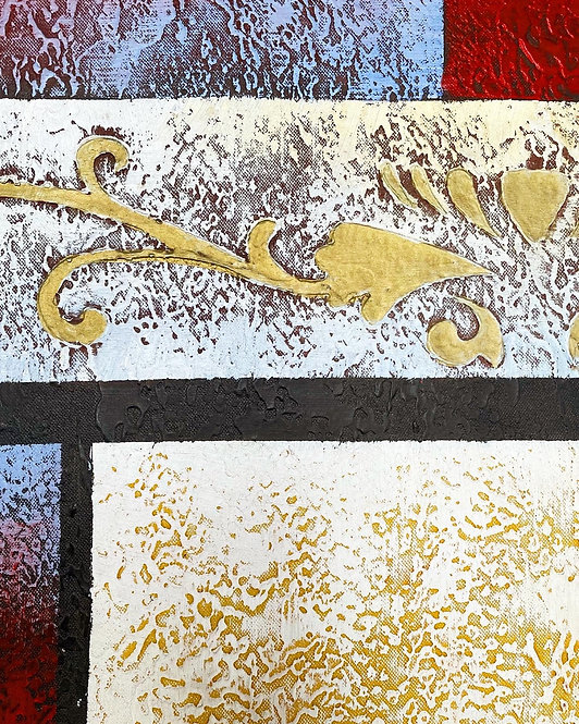 Vintage Abstract Oil on Canvas Painting with Floral Motifs