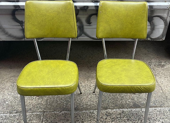 A Set of 2 Green Upholstery Chrome Kitchen Chairs