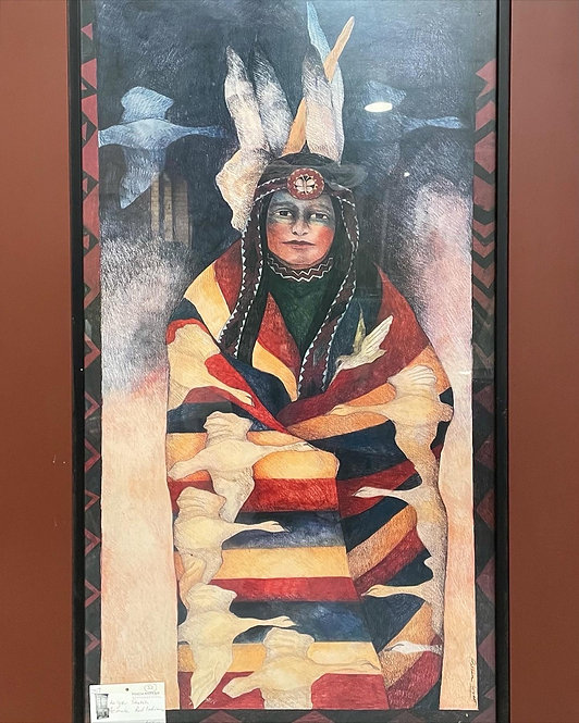 Stunning Large Sketch of Native Red Indian Woman