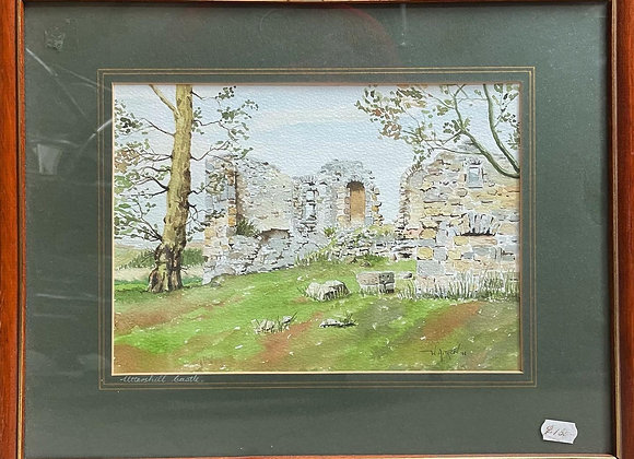 Watercolour Painting of Uttershill Castle signed by W. Aitren, 1995