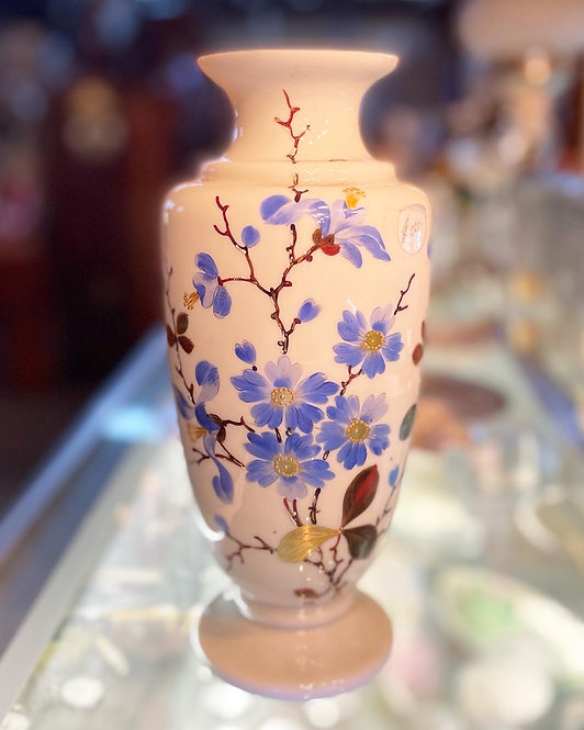 Beautiful Vintage White Glass Vase with Blue Floral Motifs