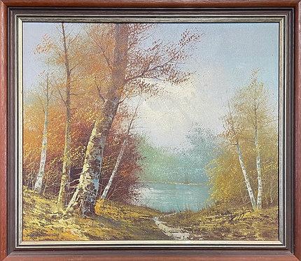Original Vintage Framed Impressionist Artwork with Signature