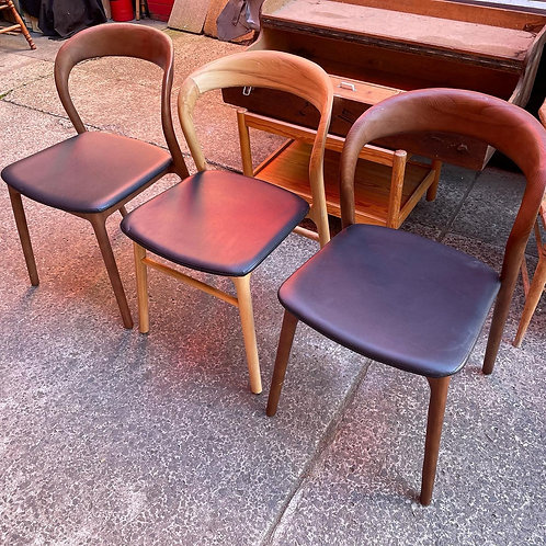 Modern Curved Back Chair with Black Upholstery