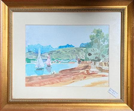 Original Vintage Seascape Watercolour signed by JP