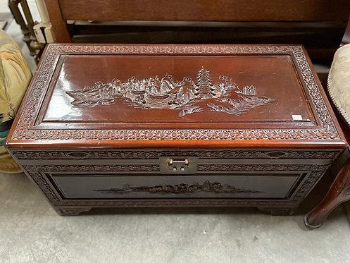 Impressive Vintage Oriental Motifs Hand-Carved Trunk